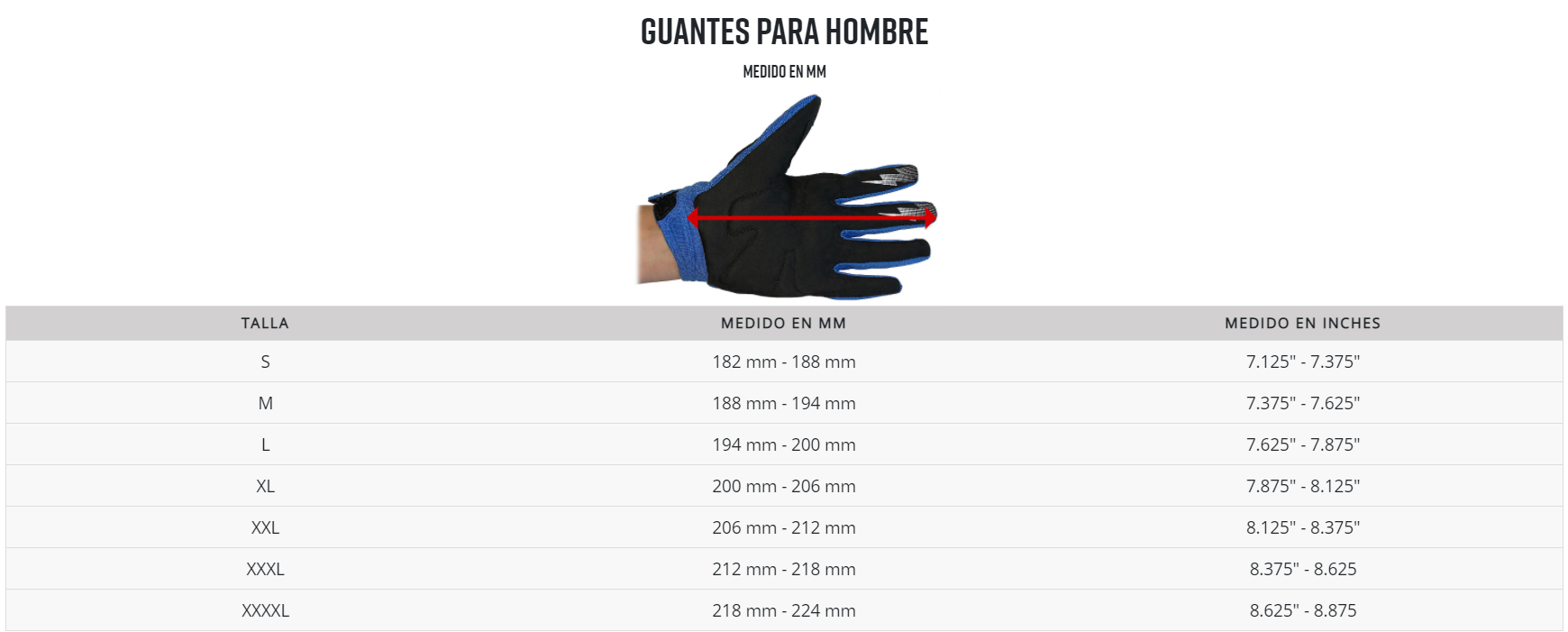 fox guantes medidas