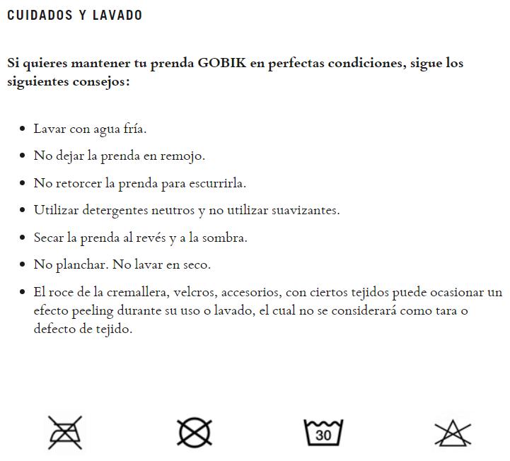 cuidados gobik chaleco plus 2.0