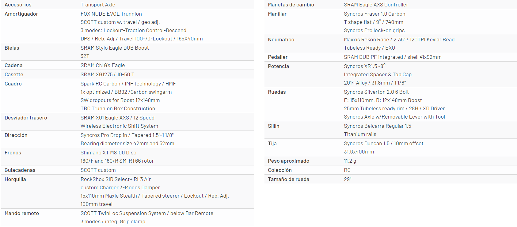 scott spark rc 900 team issue axs especificaciones